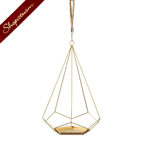 Image 1 of Gold Prism Hanging Plant Holder With Rope
