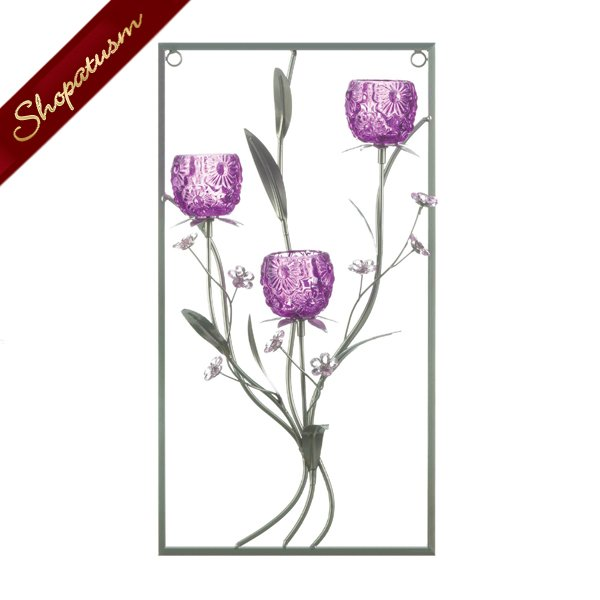 Three Candle Wall Sconce Glass Magenta Flower Wall Decor