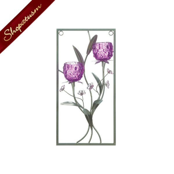 Two Candle Holder Wall Sconce Glass Magenta Flower Wall Decor