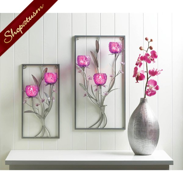 Image 1 of Two Candle Holder Wall Sconce Glass Magenta Flower Wall Decor