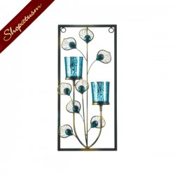 Two Candle Wall Sconce Peacock Glass Votive Wall Decor