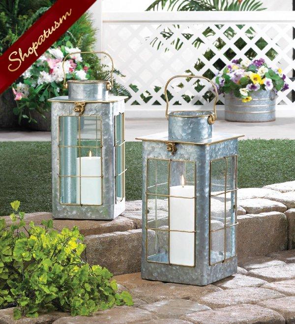 24 Wedding Centerpieces Galvanized Steel Lanterns Large Farmhouse Gold Trim
