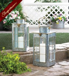Small Farmhouse Galvanized Steel Lantern Gold Trim