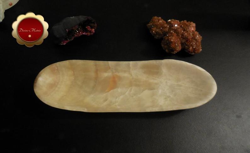 Large Banded Calcite Bowl, Carved Calcite Dish, Oblong Bowl