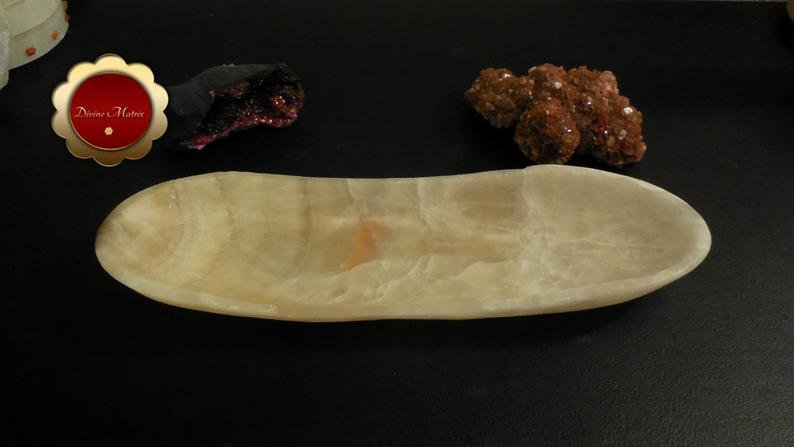 Image 1 of Large Banded Calcite Bowl, Carved Calcite Dish, Oblong Bowl