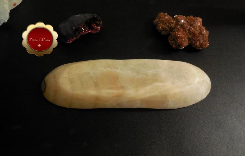 Image 2 of Large Banded Calcite Bowl, Carved Calcite Dish, Oblong Bowl