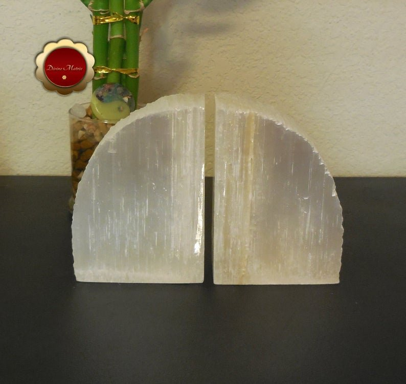 Image 1 of Large Selenite Bookends, Selenite Cleansing Slabs, Rustic Bookends