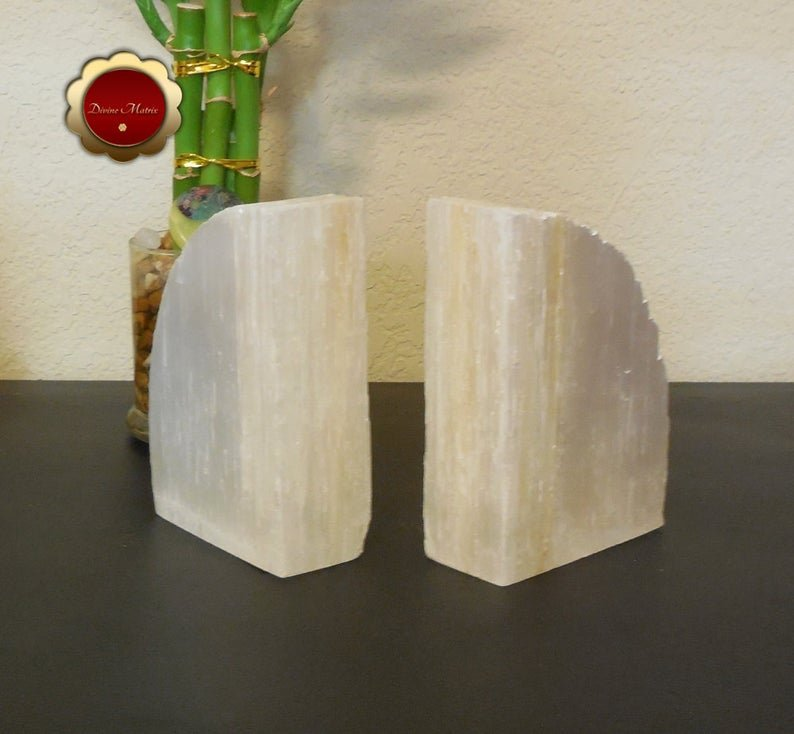 Image 2 of Large Selenite Bookends, Selenite Cleansing Slabs, Rustic Bookends