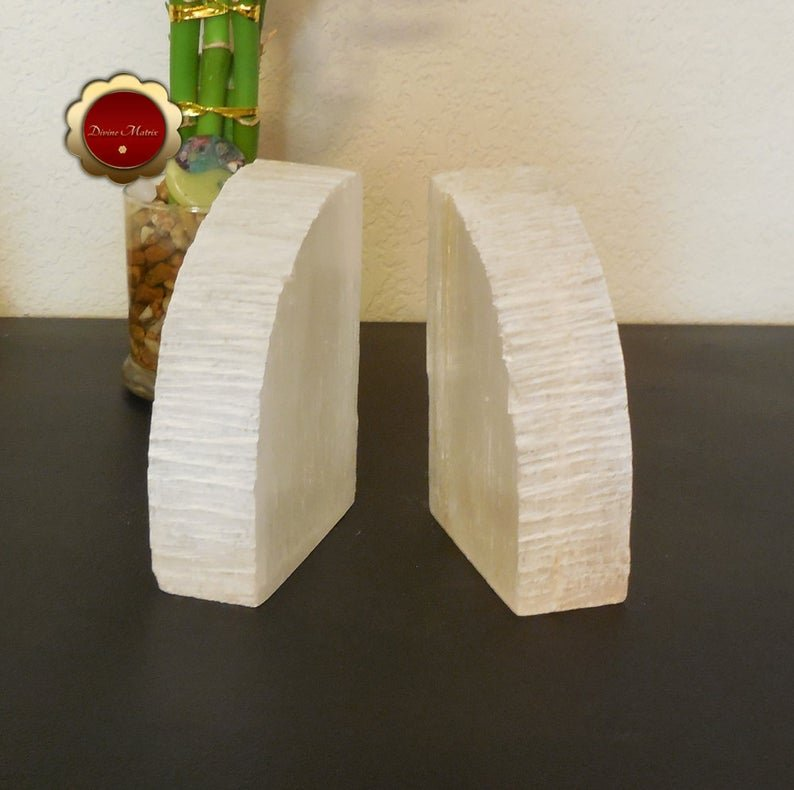 Image 3 of Large Selenite Bookends, Selenite Cleansing Slabs, Rustic Bookends