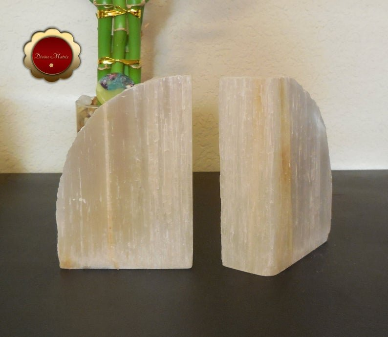 Image 5 of Large Selenite Bookends, Selenite Cleansing Slabs, Rustic Bookends