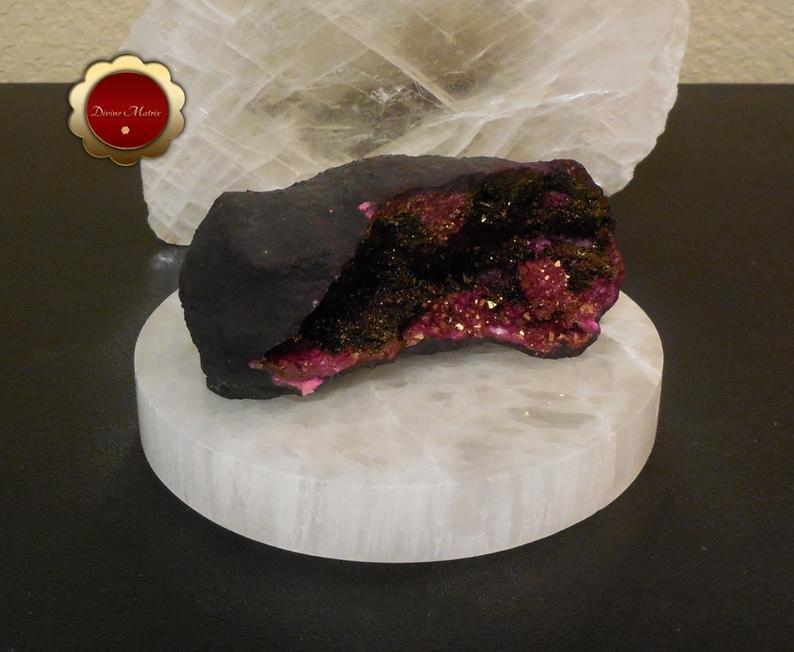 Image 1 of Titanium Quartz Cluster, Gold and Magenta Quartz Geode