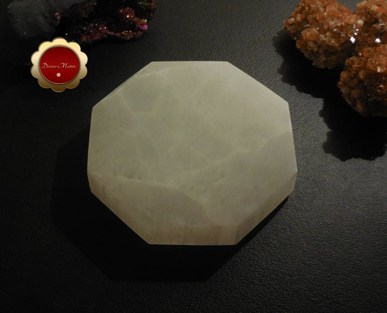 Image 1 of XL Hexagon Selenite Charging Slab, Sacred Geometry Polished Selenite Disc