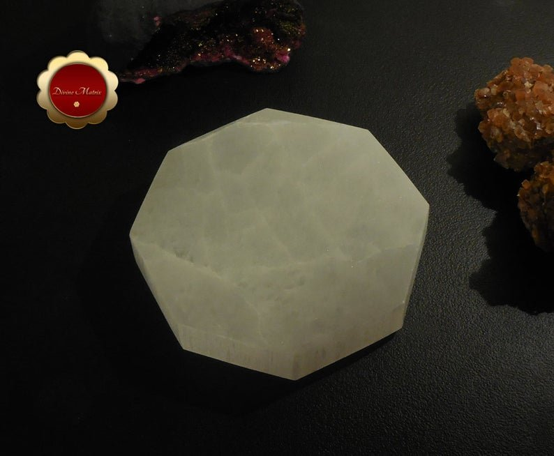 Image 2 of XL Hexagon Selenite Charging Slab, Sacred Geometry Polished Selenite Disc