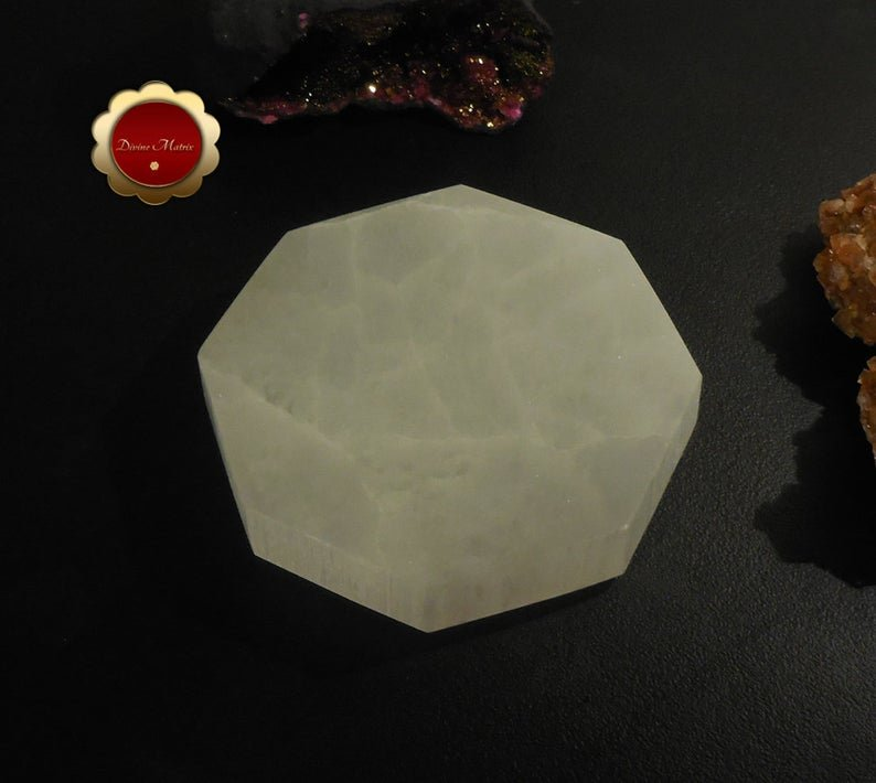 Image 3 of XL Hexagon Selenite Charging Slab, Sacred Geometry Polished Selenite Disc