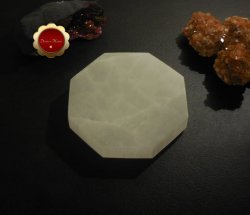 XL Hexagon Selenite Charging Slab, Sacred Geometry Polished Selenite Disc