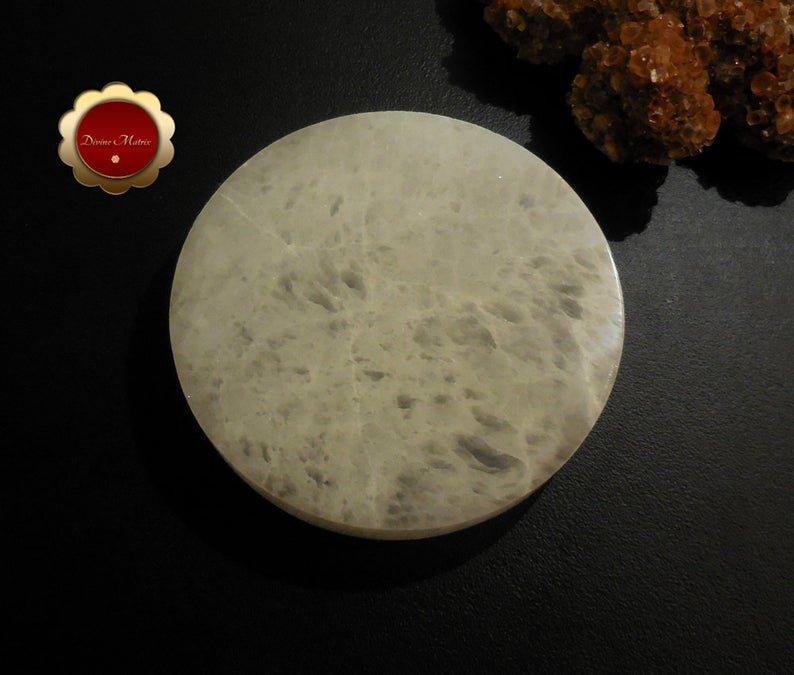 XL Selenite Charging Slab, Polished Selenite Disc, Selenite Charging Disc