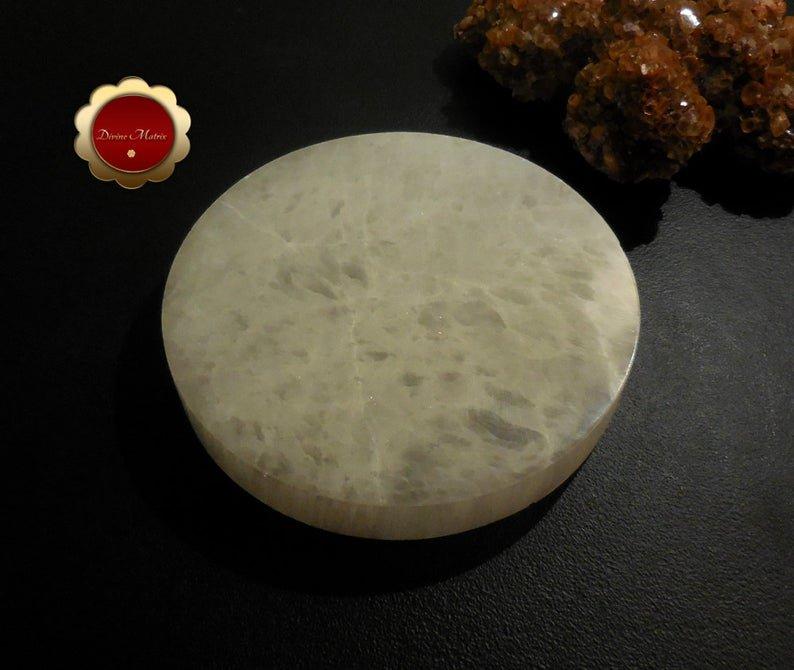Image 1 of XL Selenite Charging Slab, Polished Selenite Disc, Selenite Charging Disc