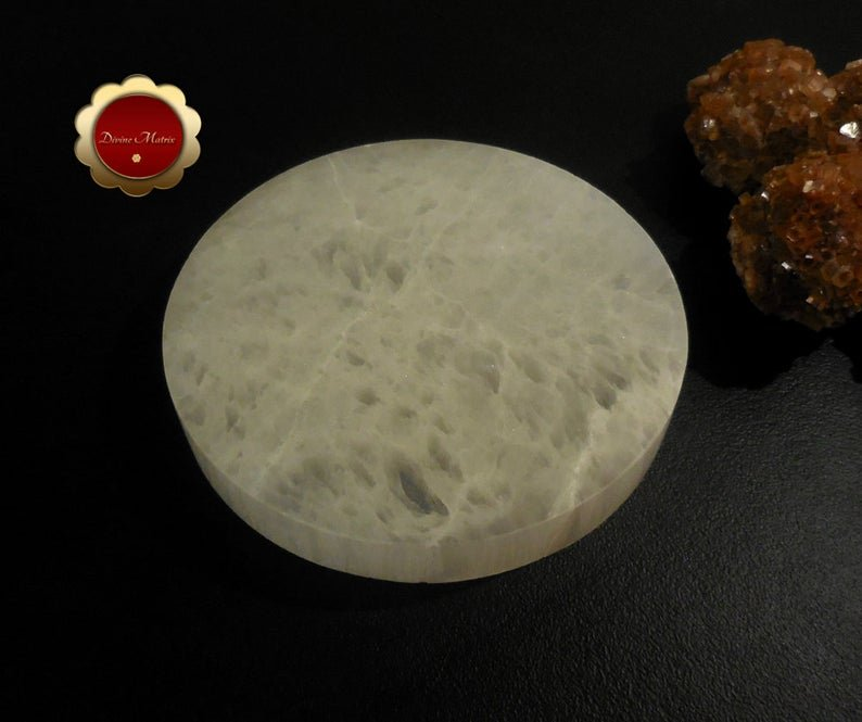 Image 2 of XL Selenite Charging Slab, Polished Selenite Disc, Selenite Charging Disc