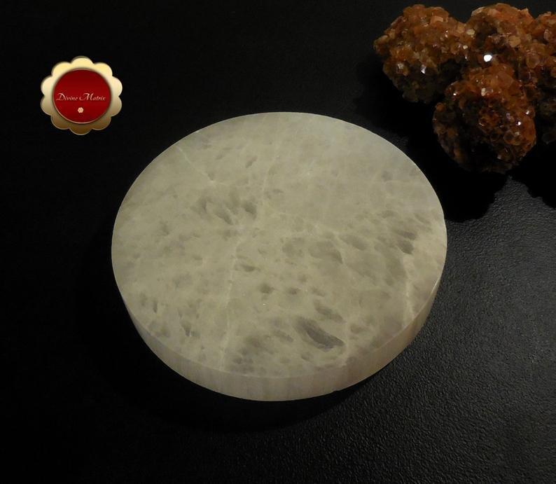 Image 3 of XL Selenite Charging Slab, Polished Selenite Disc, Selenite Charging Disc