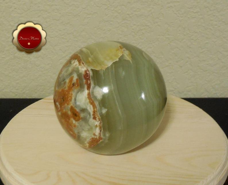 Large Green Calcite Sphere, Banded Calcite, 4 in Carved Calcite Sphere