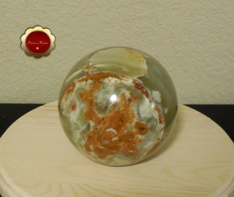 Image 1 of Large Green Calcite Sphere, Banded Calcite, 4 in Carved Calcite Sphere