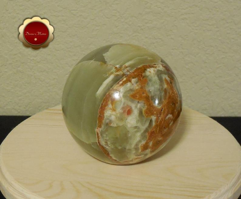 Image 2 of Large Green Calcite Sphere, Banded Calcite, 4 in Carved Calcite Sphere