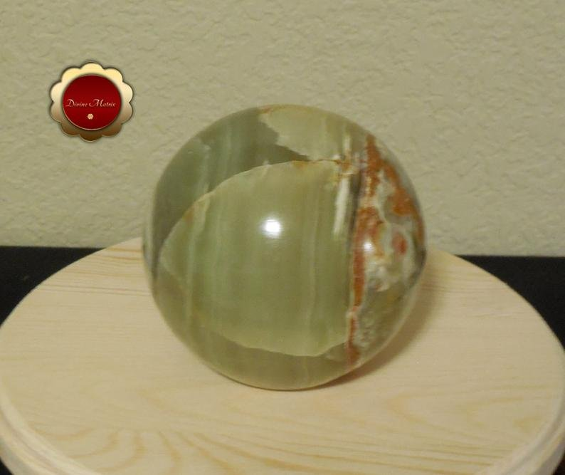 Image 3 of Large Green Calcite Sphere, Banded Calcite, 4 in Carved Calcite Sphere