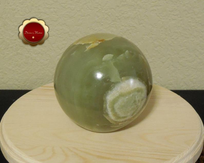 Image 5 of Large Green Calcite Sphere, Banded Calcite, 4 in Carved Calcite Sphere