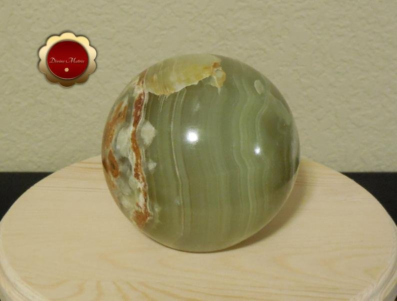 Image 6 of Large Green Calcite Sphere, Banded Calcite, 4 in Carved Calcite Sphere
