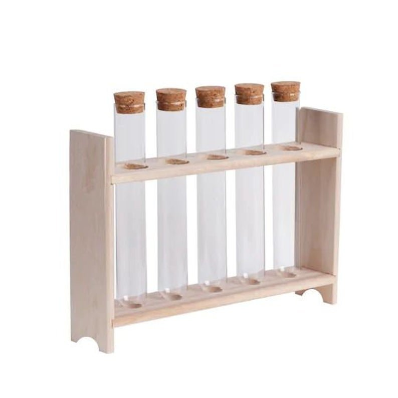 Test Tube Set with Wood Stand, Glass Test Tubes, Glass Viles, Chemistry