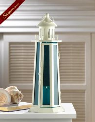 60 Wholesale Nauticle Blue Glass and Metal Lighthouse Lanterns