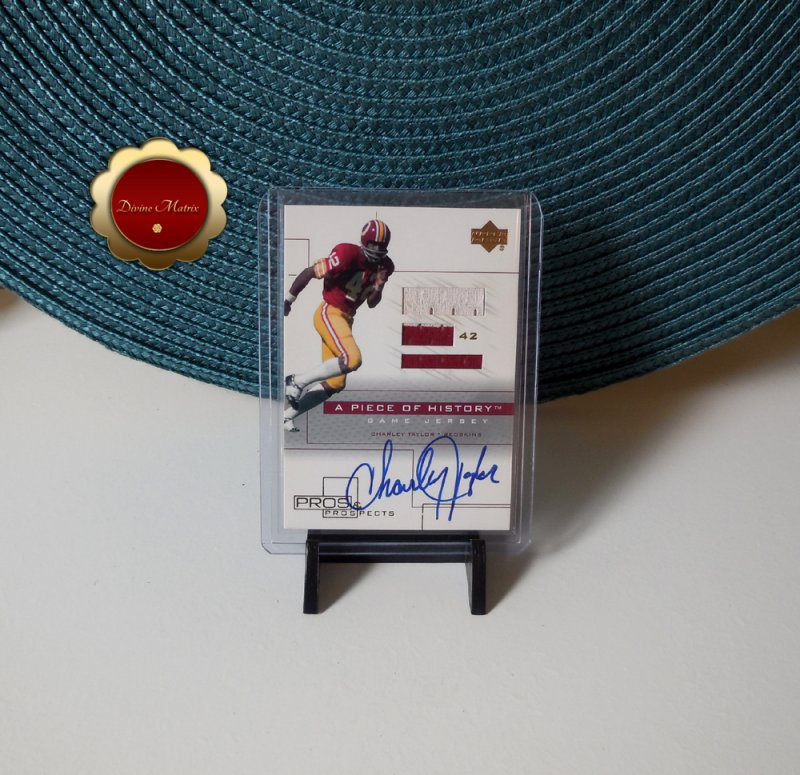 Charley Taylor 2001 Upper Deck Pros And Prospects A Piece of History Auto Jersey