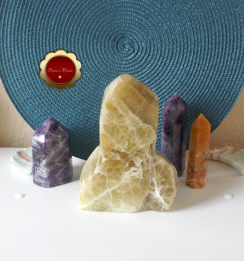 Image 1 of Large Yellow Lemon Calcite Freeform, Calcite Freeform, Lemon Calcite Crystal