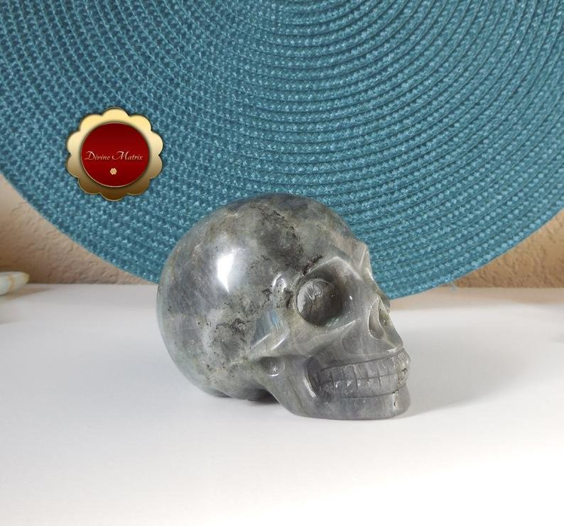 Image 2 of Labradorite Skull, Large Carving, Polished Labradorite Skull