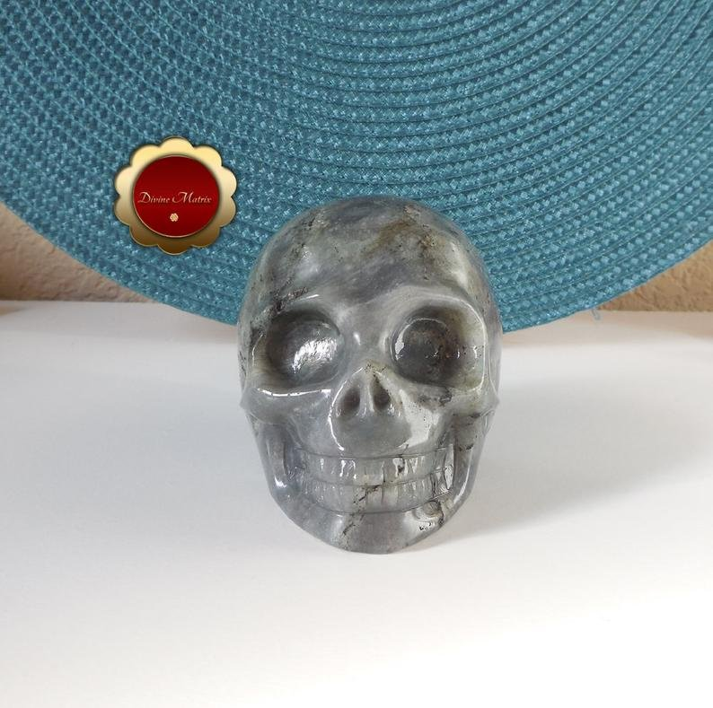 Image 3 of Labradorite Skull, Large Carving, Polished Labradorite Skull