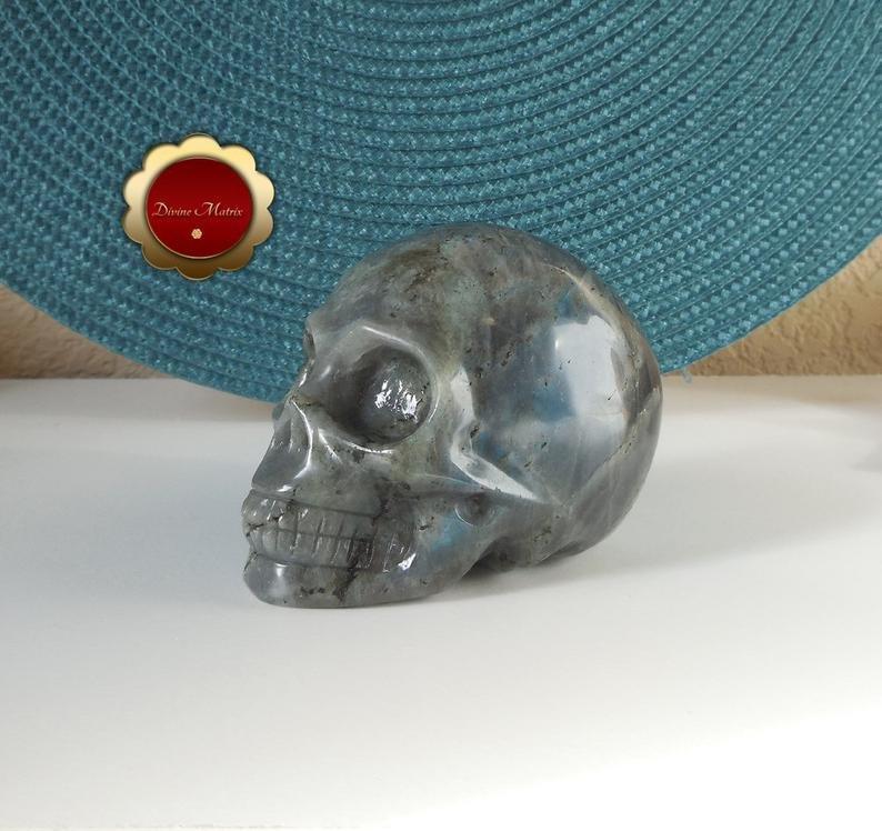 Image 4 of Labradorite Skull, Large Carving, Polished Labradorite Skull