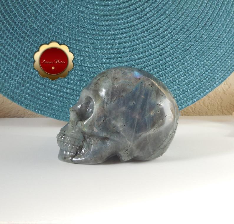 Image 5 of Labradorite Skull, Large Carving, Polished Labradorite Skull