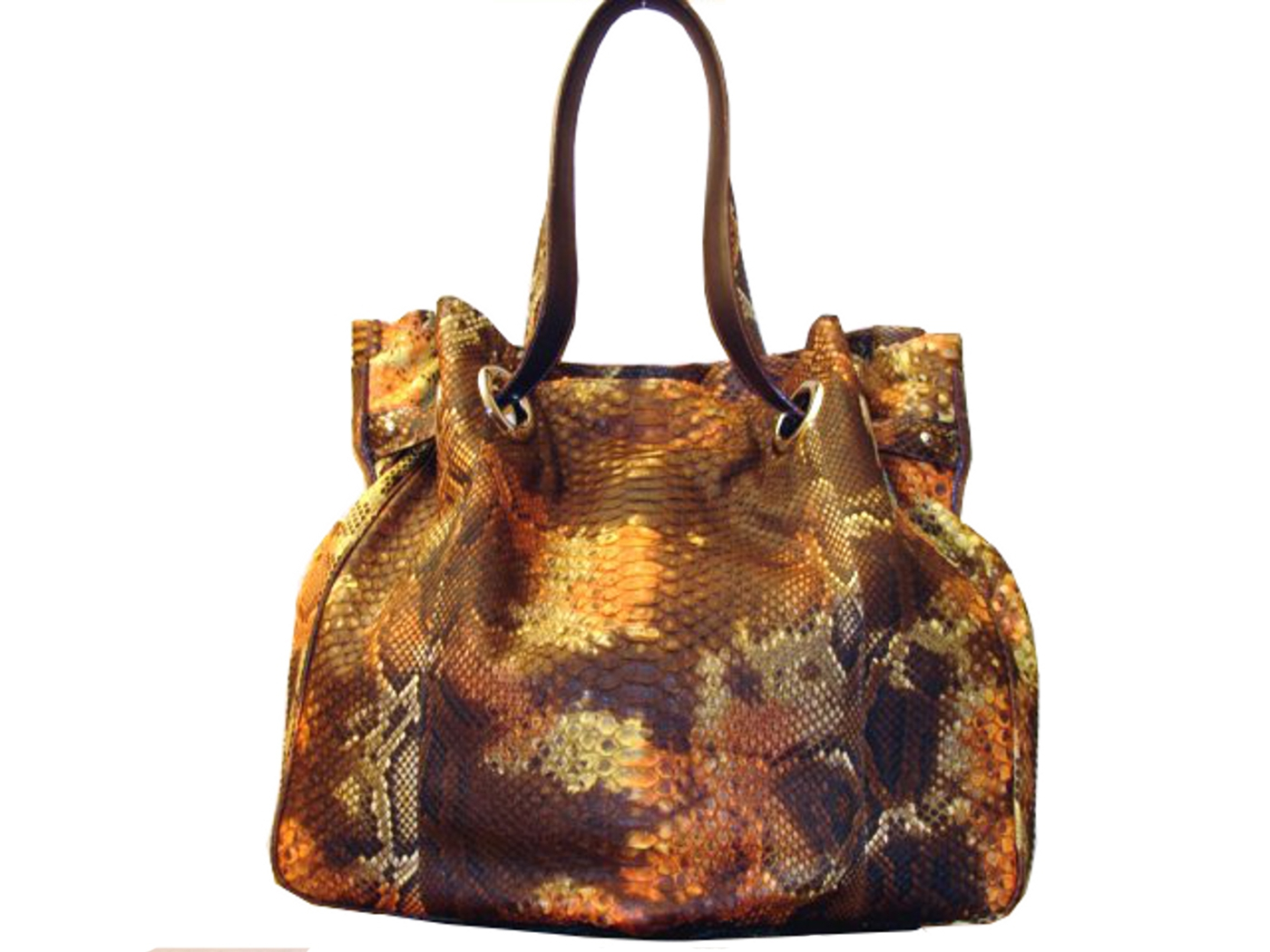 Braschi Handbag Terra Color in Genuine Python Leather!