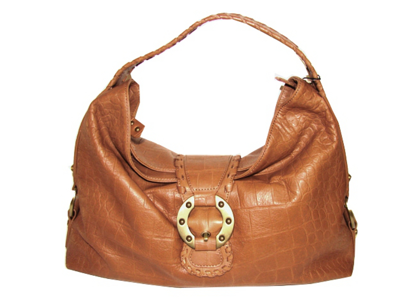 Desmo-Italian Designer Handbag in Crocodile Embossed Camel Color Leather!