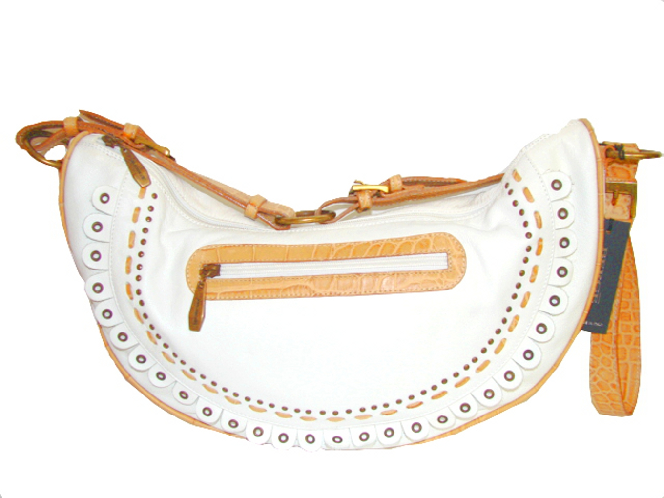 Berge-Italian Designer Handbag in White and Tan Color Leather!