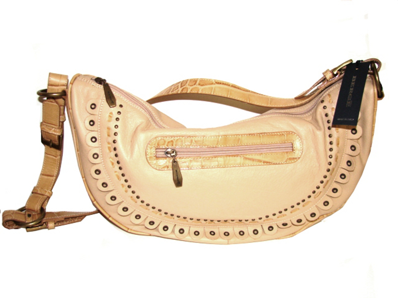 Berge-Italian Designer Handbag in Natural Tan Color Leather!