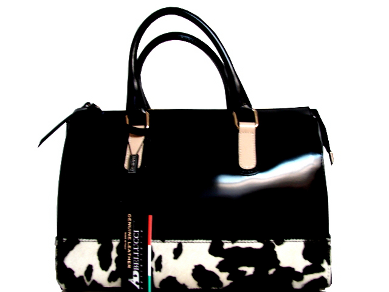 AB A. BELLUCCI  ITALIAN DESIGNER HANDBAG IN BLACK CALF LEATHER & ANIMAL PRINT!