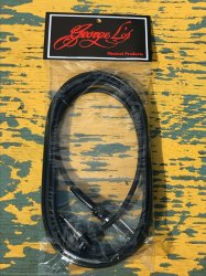 George L's 10' .225 Guitar Bass Cable BLACK Right Angle / Straight