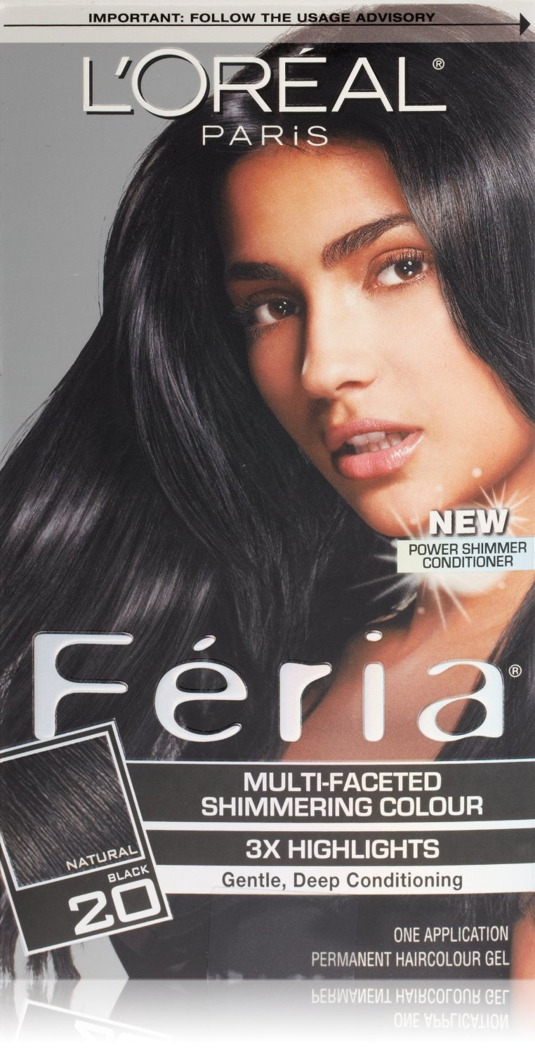 Loreal Feria Permanent Hair Color 20 Black Leather
