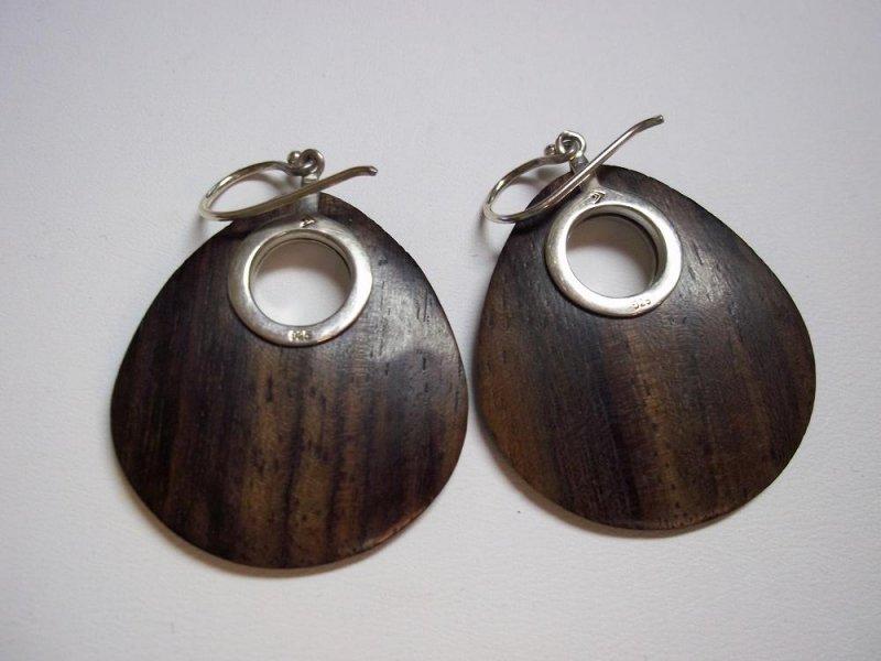 w1845 retired silpada wood silver earrings