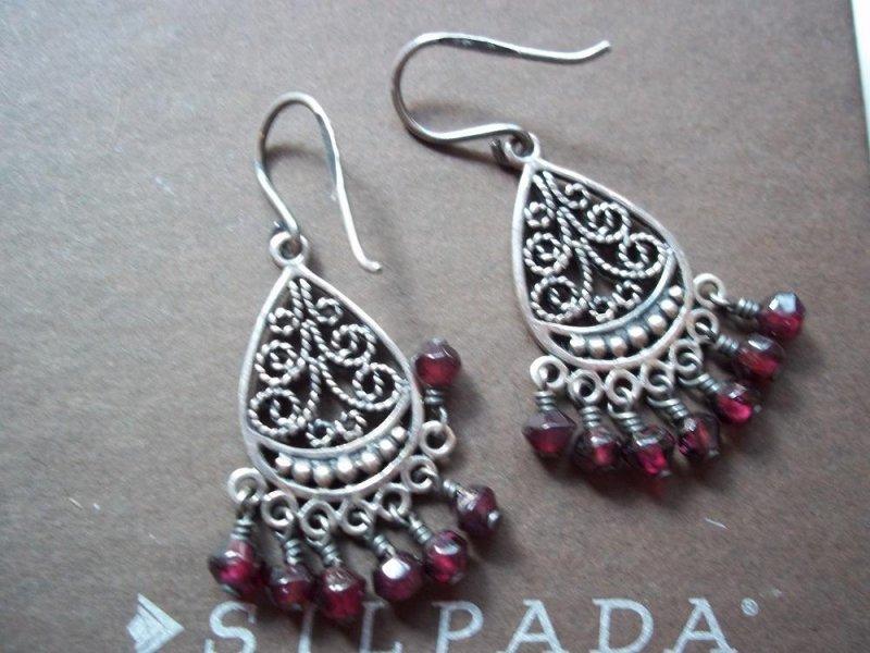 w1766 silpada retired garnet chandlier earrings