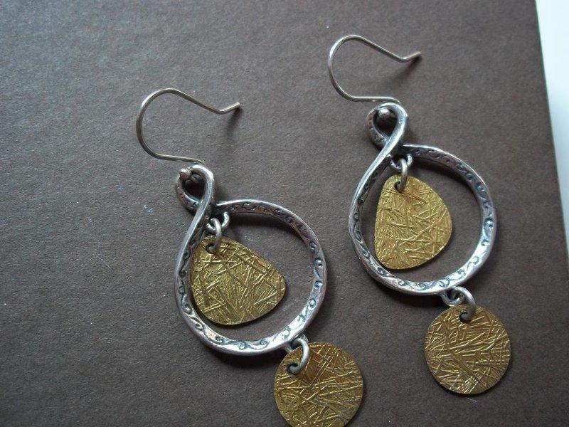 w2060 retired silpada sterling silver brass earrings