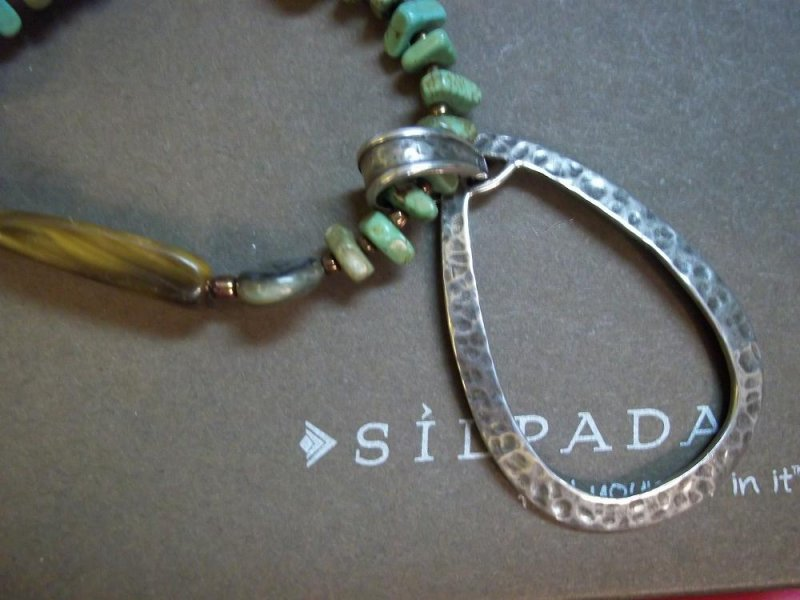 N1786 Retired Blue-Green Sterling silver Silpada Necklace