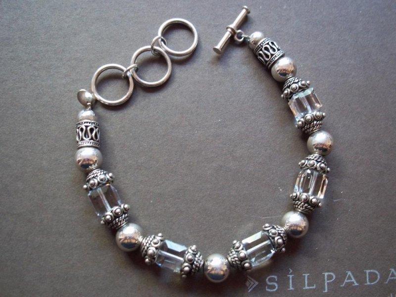 B1147 Retired Silpada Sterling Silver Crystal Bracelet