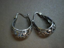Thumbnail of P1844 Retired Silpada Sterling Silver Filigree Hoop Earrings